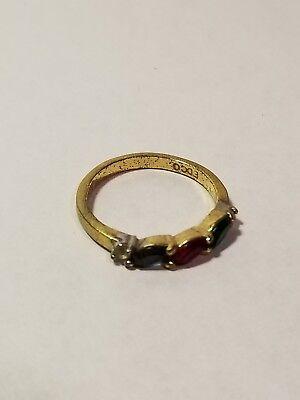 Vintage Estate Gold Tone Ring, EDCO Red Green Blue Rhinestones, Size 6.5 (B009)