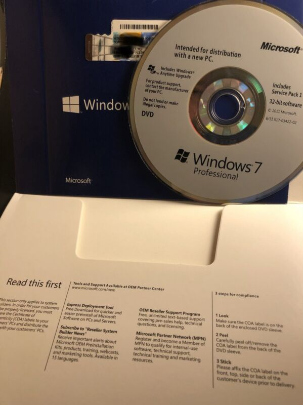 Microsoft Windows 7(32 Bit), DVD Disc & The Product Code Brand New Sealed