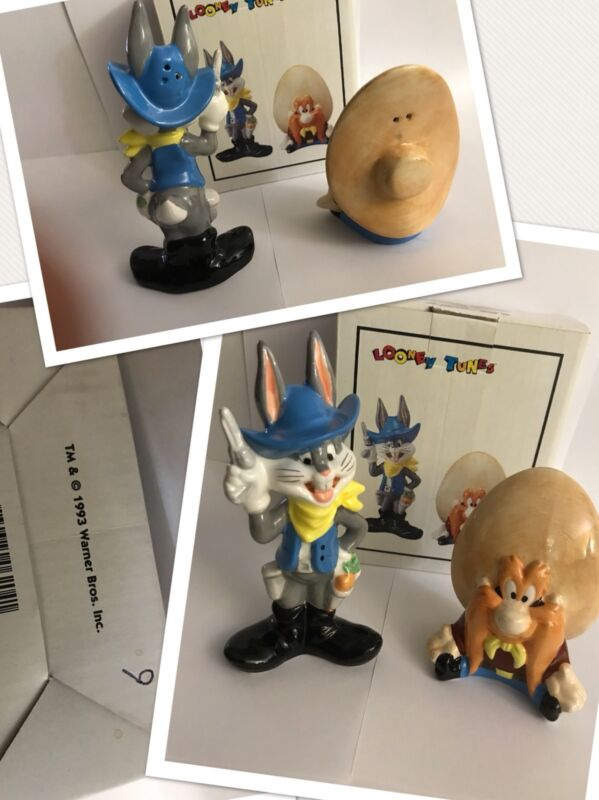 New 93 vtg Looney Tunes Yosemite Sam Bugs Bunny Warner Bros Salt Pepper Shakers