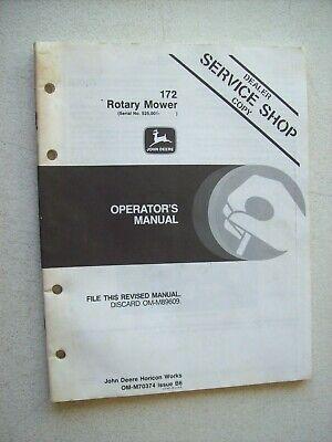 Original John Deere 172 Rotary Mower Operators Manual Service Shop Issue B6
