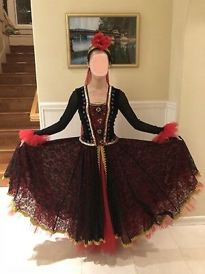 Cultural Folk Dance Costume Long Skirt, Headpiece, Top - Cultural Costumes