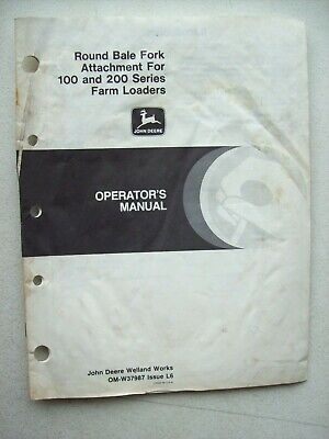 Original John Deere Round Bale Fork For 100 200 Loaders Operators Manual