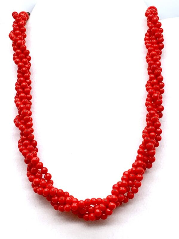 Vintage Collectible Twisted Red Glass Bead Necklace with Extender