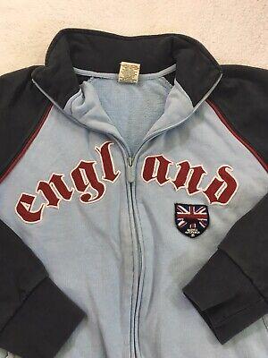 ENGLAND SOCCER Full Zip Track Jacket Roma Atletica Warm Up Blue MENS SMALL England Track Jacket