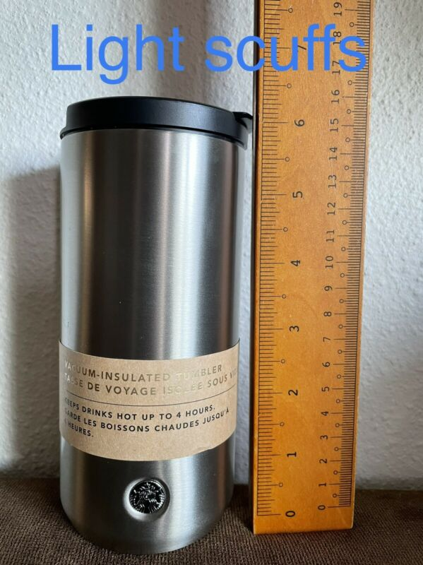 Starbucks Vacuum Insulated Silver Stainless Steel Tumbler 12 Oz NEW WITH FLAWS