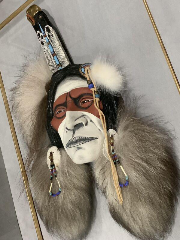 Rare Kathryn Yauney Signed Native American Indian spirit mask Sculpture frame