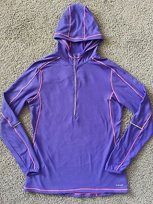 (HIND Purple & Coral Fleece Lined Running Athletic Workout Hoodie (Size Large))