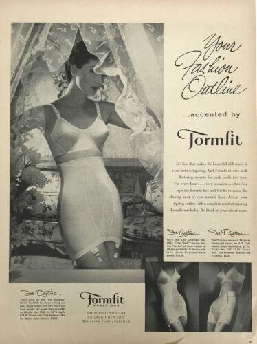 Formfit Girdle Bra Women Magazine Print Ad Vintage Underwear Clothing 1956