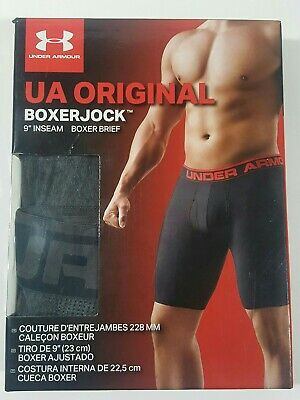 "New Men's Under Armour UA Original BoxerJock 9"" Inseam Small Gray Boxer Brief Sm"