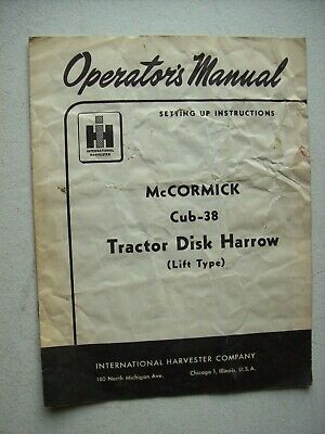 Original International Mccormick Cub-38 Tractor Disk Harrow Operators Manual