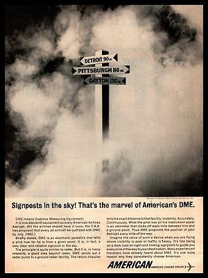 1962 American Airline DME Distance Measuring Equipment Mileage Signpost Print Ad