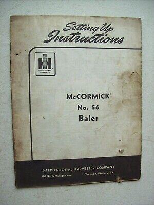 Original International Mccormick 56 Baler Setting Up Instructions