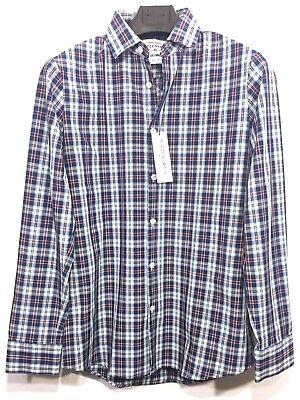 Crimson Plaid - MIZZEN + MAIN Mens Blue Red Plaid Check Button Long Sleeve Shirt (MSRP $125)