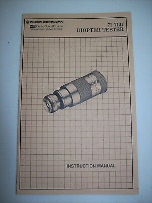 Brunson Ke Cubic Precision 71-7101 Diopter Tester Instruction Manual