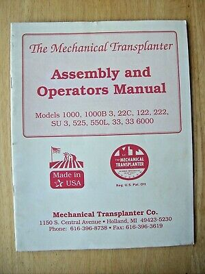Mechanical Transplanter 1000 22c 122 525 550l 33 Assembly Operators Manual