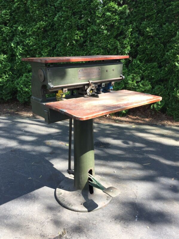 Antique Industrial Portland Punching Machine Printing Desk Table Cast Iron Base