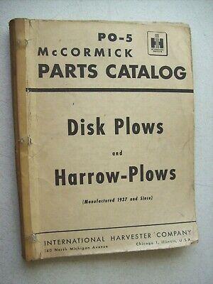 Original Mccormick Disk Plows Harrow Plows Parts Catalog Manual Po-5
