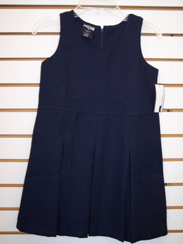 Toddler & Girls Navy or Khaki High Waist Uniform Jumper Dress Size 2T - 16