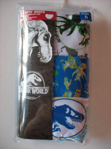 Jurassic World Boys Underwear Underpants 3 Briefs Sz 8 NIP