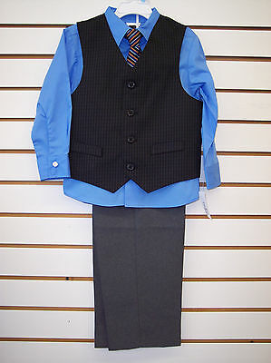 Light Grey Boys Suit (Toddler & Boys 4pc suit Light. blue, black and Gray with vest & tie sizes 3T -)