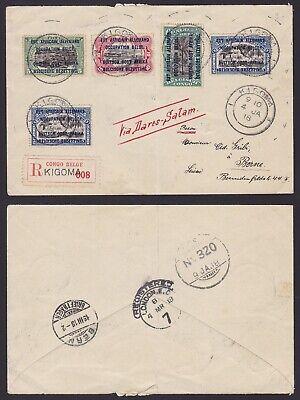 Congo Ruanda Urundi 1918 War stamp used on Registered mail KIGOMA to Switzerland