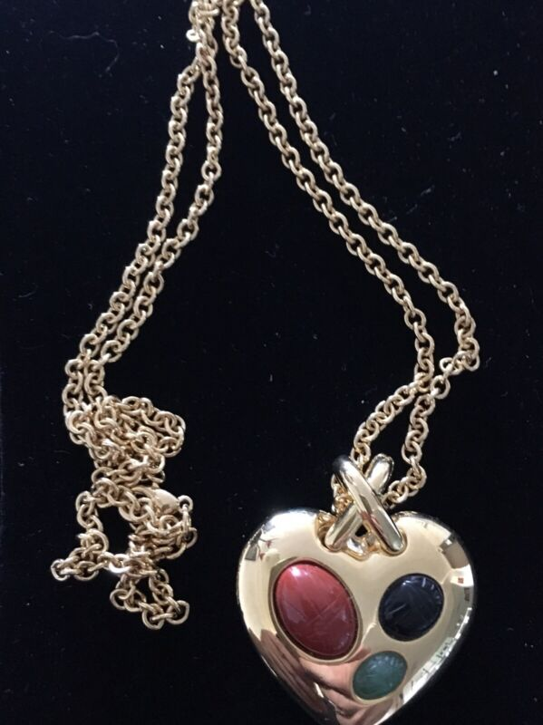 Scarab Cabochon   Reversible Heart  Pendant Necklace