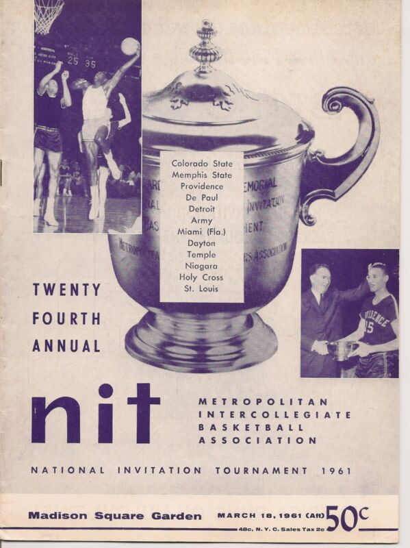 1961 NIT First Round Program Army Temple DePaul Providence Friars Champs NICE!!