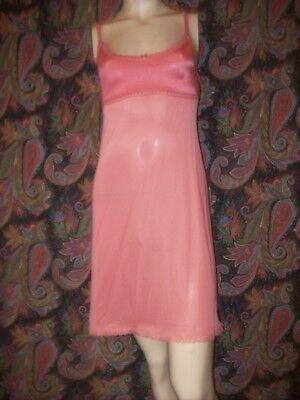 Vintage Vanity Fair Pink Nylon Knit Top Mini Slip Nighty Lingerie 32