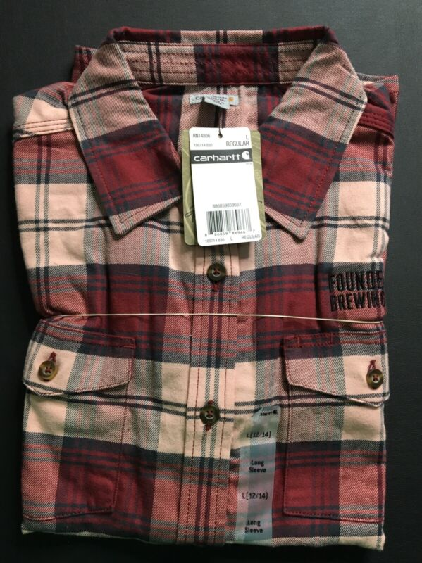 Women's Large 12-14 Founders Brewing Carhartt Flannel Beer Shirt