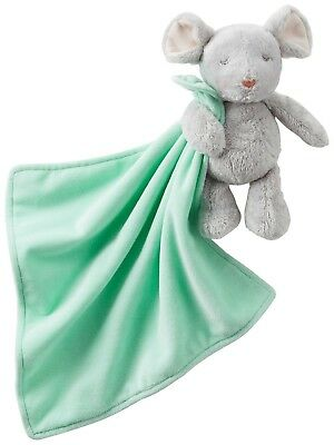 NWT Carters Gray Baby Mouse Rattle Holding Mint Green Security Blanket NEW