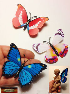 M00079-B01 MOREZMORE 3 Mini Fairy Magnet Butterfly Wings for OOAK Doll Baby A60