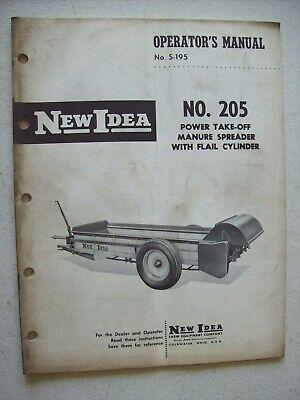 Original New Idea No. 205 Manure Spreader Operators Parts Manual S-195
