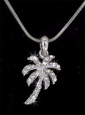 Palm tree pendantebay 1 palm tree austrian crystal silver charm pendant 20 chain necklace new mozeypictures Choice Image