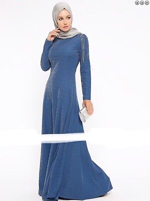 Navy Blue Indigo Crew neck Muslim Evening Dress Abaya Jilbab 8 10 for sale  Shipping to United States
