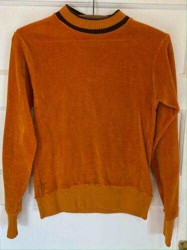 VTG 60s 70s Montgomery Ward Brent Prep Orange Mock Neck Cotton Sweater Size 14
