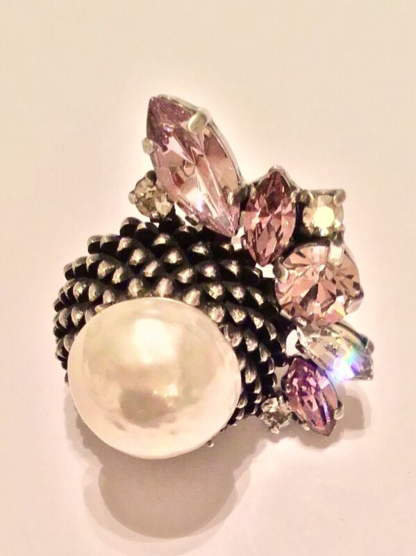 Gian Paolo Maria Paris Signed Silver Tone Purple Crystals Faux Pearl Ring Size 7