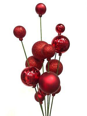 Red Shiny & Glitter Ball Christmas Pick Tree Wreath Decor Ornament R ()
