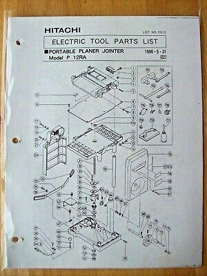 Original Hitachi P 12ra Portable Planer Jointer Illustrated Parts List