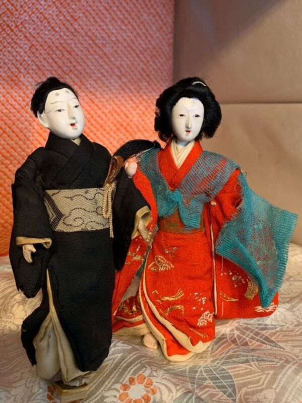 "2 ANTQ ICHIMATSU 5.5"" GEISHA/HINA GOFUN DOLL EXQUISITE JAPAN ATTIRE*EMBROIDERY"