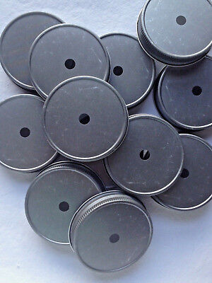 Straw Jar (12 Mason Jar Lids w/ Straw Holes.  Antique Pewter For Regular Mouth Mason)