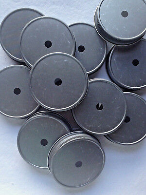 12 Mason Jar Lids w/ Straw Holes.  Antique Pewter For Regular Mouth Mason Jars (Mason Jar Straw)