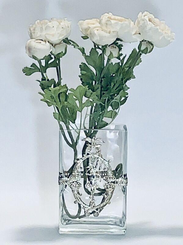 Stunning Vintage Rectangular Flower Vase With Decorative Silver Plated