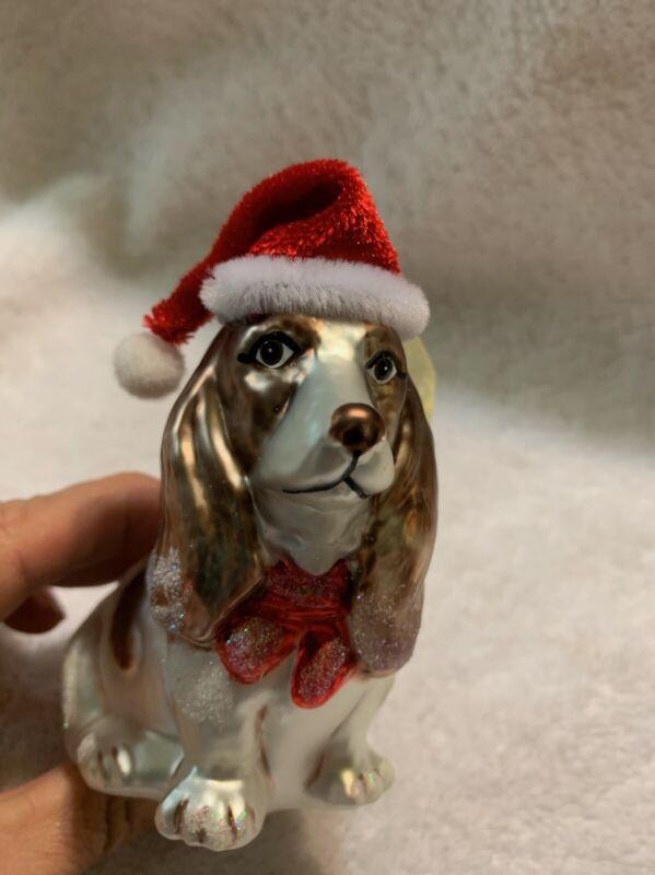 Basset Hound Dog W/ Santa Hat Blown Glass Christmas Ornament