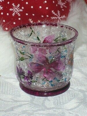 YANKEE CANDLE CRACKLE GLASS VOTIVE HOLDER W/ BUTTERFLIES