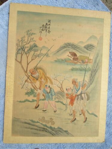 FINE ANTIQUE CHINESE SIGNED PAINTING ON SILK FOOK HING CO. HONG KONG