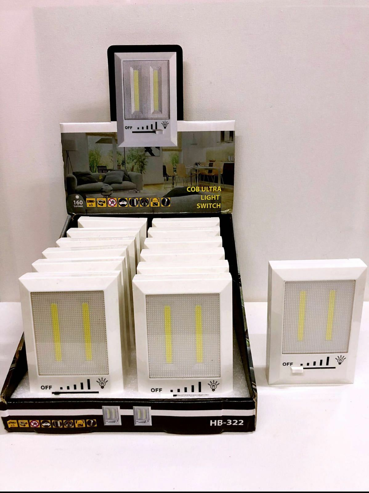 LUCE LED COB INTERRUTTORE SWITCH DIMMERABILE ADESIVO DA ARMADIO BATTERIA