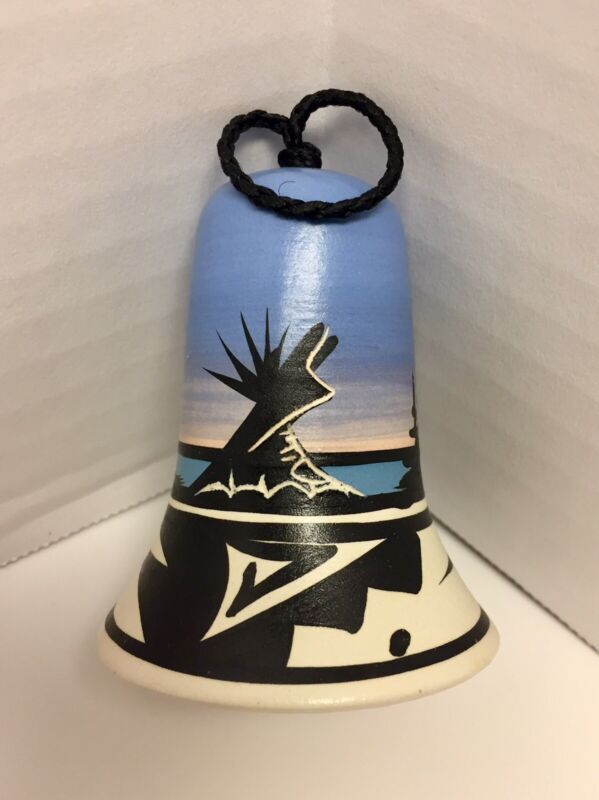 Cedar Mesa Pottery Bell Native American Made Mountain Night Teepee Signed