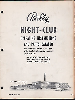 BALLY 1956 NIGHT-CLUB PINBALL MACHINE OPERATING INSTRUCTIONS & PARTS CATALOG for sale  Shipping to Canada