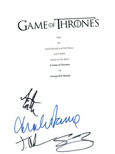 GAME OF THRONES Cast Signed Autographed Pilot Episode Script Sean Bean + 3 COA