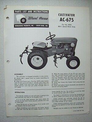 Original Wheel Horse Ac-675 Cultivator Operators Instructions Parts List